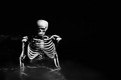 Skeleton (Paula Reedyk) Tags: blackandwhite halloween movie skeleton skinny tv scary model picnic trickortreat frame ribs bones anorexia haunting diet thin scare weightloss dieting spook boney oldmovie apetite bagofbones humanskeleton houseonhauntedhill superskinny skeletoninwater