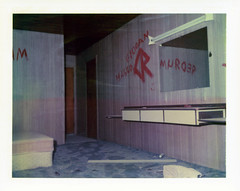 Arne's Royal Hawaiian Motel (Nick Leonard) Tags: california old red classic abandoned film analog vintage polaroid carpet graffiti mirror closed baker interior room nick motel scan retro motelroom walls 1970s mattress expiredfilm packfilm polaroidlandcamera instantfilm polacolor epson4490 type108 m3flashbulb expired2000 vacent peelapartfilm nickleonard arnesroyalhawaiianmotel polaroidcountdown90 polaroid108film 268flashgun arnesroyalhawaiian