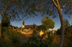 Bates Chapel (Tom Haymes) Tags: trees sunset church texas stonework chapel fisheye roundtop festivalhill roundtoptexas edythebateschapel festivalhillroundtop bateschapel festivalhillroundtoptexas