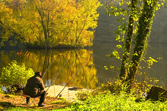 AUTUMN (Little♥Krawler) Tags: autumn people lake reflection nature germany deutschland see fisherman herbst natur angler