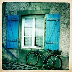 French window (a.c.thomas) Tags: street france bicycle french francaise shutters bicyclette fenetre