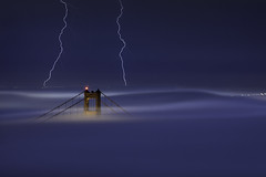 S T A T I C (maxxsmart) Tags: sanfrancisco california longexposure summer moon fog canon w september goldengatebridge marincounty lightning rare ef70200f4l southtower 2011 crazybeautiful 5dmarkii maxxsmart