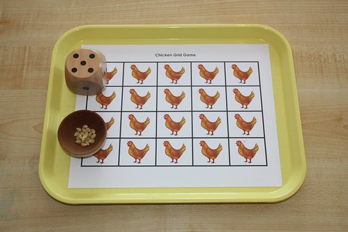 Feed the Chickens Activity Tray using Printable from PreKinders (Photo from Counting Coconuts)