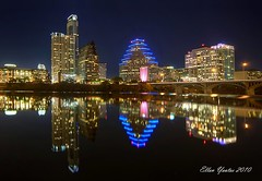 Austin Skyline (Ellen Yeates) Tags: bridge sky moon lake color reflection building bird water skyline lady night photography gold ellen downtown cityscapes townlake hdr austinskyline yeates ladybirdlake