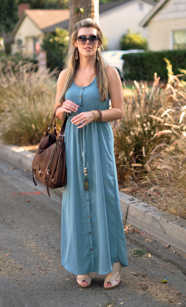 silk maxi with brown kooba bag   and gold accessories