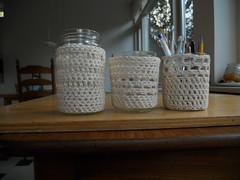 Glazen potjes met een gehaakt jasje / Jars with a crocheted jacket (evanstra) Tags: crochet cotton jar haken jampot ongebleektkatoen