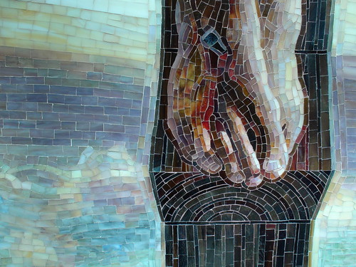 "Detail of ""Crucifixion"" by Mia Tavonatti at the DeVos Place"