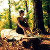 forest of solitude. (Casey David) Tags: wood blue trees red brown white green girl forest canon circle log holding hands woods solitude quiet peace dof bokeh lace 14 50mm14 sheets deadtree barefoot sheet cloth forests neutral caseydavid caseydavidphotography
