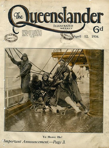 Illustrated front cover from The Queenslander, April 12, 1934