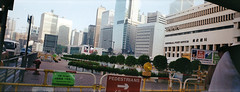 Central with GPO 2011 (Joybot) Tags: china road new panorama hk building film sign yellow work 35mm fence toy hongkong site construction asia different general harbour central toycamera postoffice changing pedestrians change inprogress asie   footpath chine gpo  diversion  2011