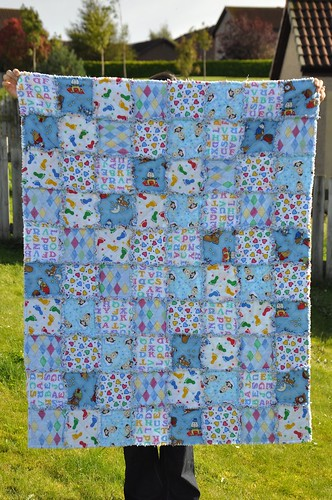 Theo's raggy quilt (made by Kim)