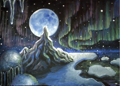 Peisaj polar cu luna plina si aurora boreala