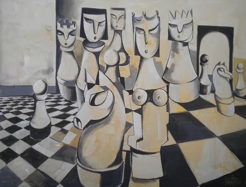 Black and White - Painting - Cubism