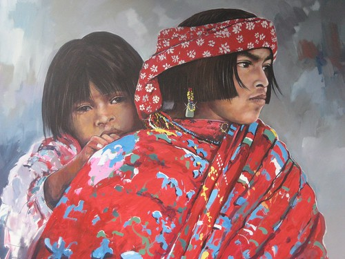 Mexican Mother and Child - Painting - Realism