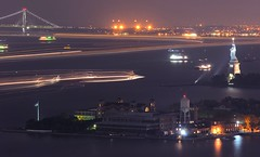 16 Minutes Over New York Harbor (mrperry) Tags: newyork statue night boats liberty newjersey view ships viewfromroom verrazanobridge ellisisland newyorkharbor 70300vr d7000 70greene 16minuteexposure nycjc nycjcsuites room4408