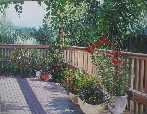 Balcony with Flowers - Painting