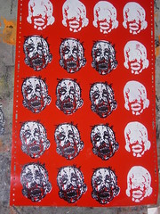 2-colour block printing (andres musta) Tags: andres musta linoleum softoleum lock print sticker stickers stickerart zombie head face zas art squad zombieartsquad adhesive andresmusta slaps