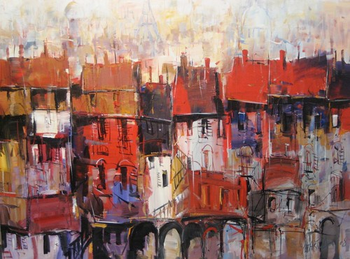 Rooftops in Red, Paris - Painting - Impressionism