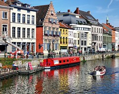 Ghent, the real diamond of Flanders (1st series) (jackfre2 (on a trip-voyage-reis-reise)) Tags: flowers people students beauty modern river niceshot belgium charm medieval flemish ghent gent wealth leie flanders flowercity leieriver mygearandmebronze dblringexcellence tplringexcellence artistoftheyearlevel3 flickrstruereflection3