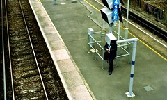 HangMan (Dominica69) Tags: man london film station train box head hangman platform lewisham rail olympus suit 400 vista analogue agfa expired om2 overground screens c41