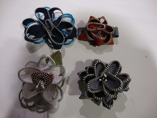 zipper flowers I made (guess which one was my first)