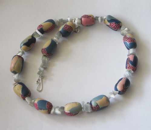 Necklace with pink and blue