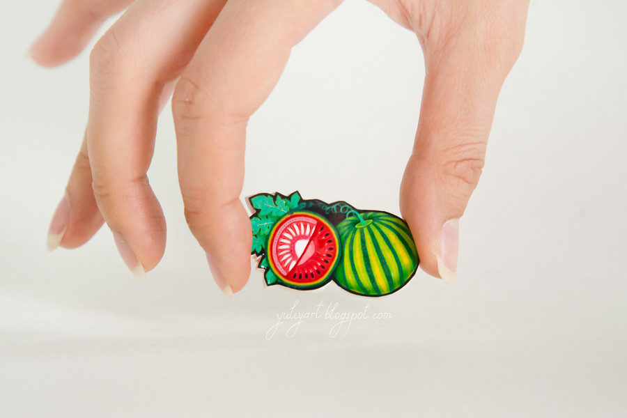 Watermelon - handmade brooch