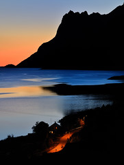 streetlights on...time to go   ( explore ) (John A.Hemmingsen) Tags: sunset sky seascape reflection nature colors night landscape norge nikon nordnorge troms ersfjordbotn nikkor1685dx nikond7000