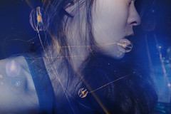Enveloping (mixed alternative) Tags: ocean california blue sea portrait girl face composite self hair aquarium monterey aqua jellyfish underwater awakening bokeh shots kate profile manipulation series chopin edit tumbling strands 365days enveloping enfolding mixedalternative mzheng