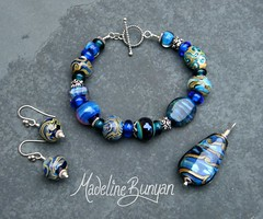 "Silver Glass Mixed bead Bracelet, pendant and Earrings • <a style=""font-size:0.8em;"" href=""https://www.flickr.com/photos/37516896@N05/6194937500/"" target=""_blank"">View on Flickr</a>"