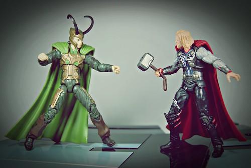 Loki battling Thor
