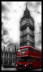 London Bus passing by the Big Ben (VeRoNiK@ GR) Tags: uk england bus london westminster photoshop photography unitedkingdom housesofparliament bigben september hdr 2011