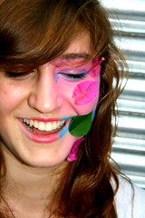 (Here'sJohnny) Tags: pink blue light flower cute eye nature floral girl smile face smiling youth laughing bench happy leaf petals high flora paint different respect bright joy innocent makeup bubbles fair spirits honest freak teenager surprised weirdo jolly delicate joyful bliss lying gazing peeking adolescent playful gracious shocked