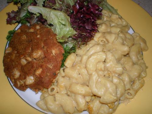 Macaroni 'Cheese'; White Bean, Garlic and Sage Cutlets