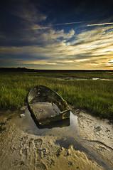 Broken Down (Stuart Hines) Tags: sea portrait sky sun colour grass clouds sunrise fun outside boat nikon day mud bright sigma stuart cumbria wreck 1020 landsacape barrow grads hines d300 furness finter poloriser viberent