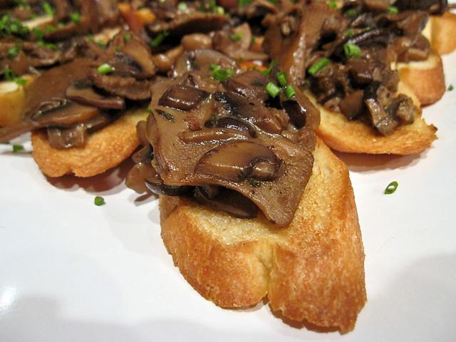 Wild mushroom crostini, fresh thyme