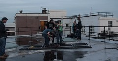 rooftop dolly setup (jackgrundy) Tags: sky film set night canon dark movie outdoors actors photos crew 7d scifi trailer behindthescenes teaser