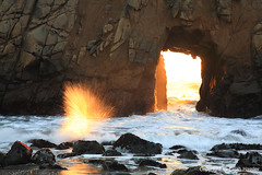 Fireworks at Pfeiffer (right2roam) Tags: california winter beach rock wall coast big rocks surf arch hole natural pacific fireworks tide central explosion beam sur effect spark sunbeam pfeiffer right2roam elijahhassler