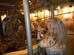 Laura plays with the Water Wheel