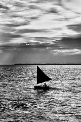 #850C4188- Sailing (crimsonbelt) Tags: ocean sea bw beach clouds boat sail balikpapan melawai
