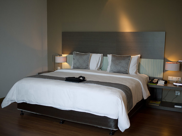 My bed, Hotel Pullman Kuching. If I sit or lie on it now I will sleep for hours!