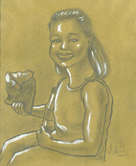 Little Girl, a Soda Drink & Potato Chips (Wasfi Akab) Tags: street original girls light shadow portrait people italy brown white black color cute art girl beautiful beauty smile smiling yellow shirt modern pencil painting hair paper geotagged fun happy sketch florence kid europe paint pretty artist acrylic italia sitting child artistic little drink outdoor drawing eating iraq drinking chips east eat potato teen painter sit teenager soda draw lovely exile middle iraqi ocher middleast akab wasfi