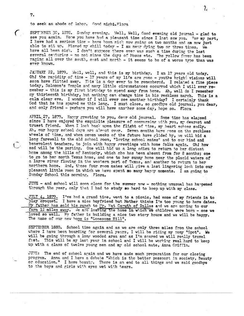 Florence McWhorter Harrington Diary - 07