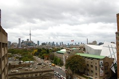 Looking south from Bloor Street (lipsofcrimson) Tags: old city sky urban toronto canada grey october cntower view cloudy flag south scene rom royalontariomuseum bloorstreet avenueroad