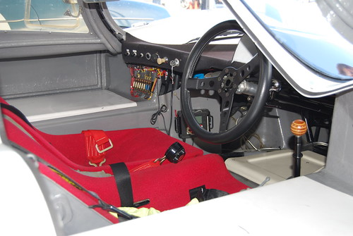Driver's compartment, Porsche 907 or 908 #6, white with yellow nose