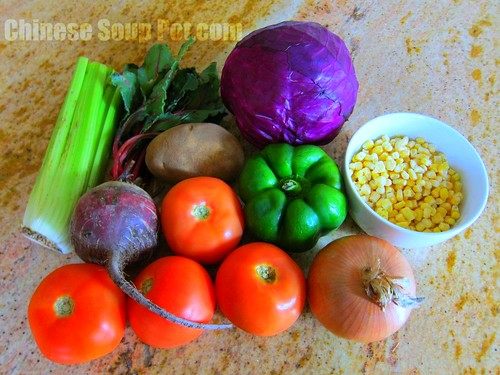 [Photo-ingredients for V8 Soup with Beet]