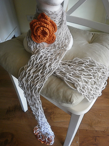 giant_knit_scarf_with_orange_rose2 by 'Sunchi B' Knit & Purl