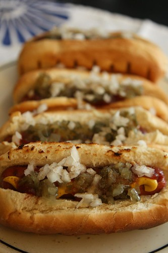 Applegate Uncured Beef Hot Dogs with Ketchup, Mustard, Sweet Relish, Chopped Onion, and Celery Salt