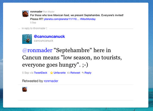Septehambre in Cancun @ Twitter 09.2011