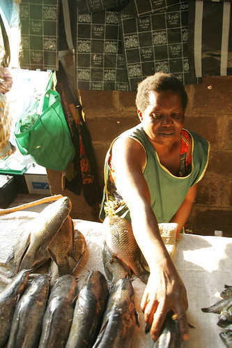 Woman selling fish in the market, photo by Stevie Mann, 2007